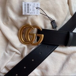tNew Gucci GG Belt Äùthentíć Double G Marmot Gold